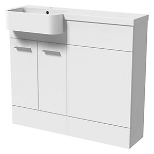 Wickes Geneva White P Shaped Right Hand Freestanding Vanity & Toilet Pan Unit with Basin