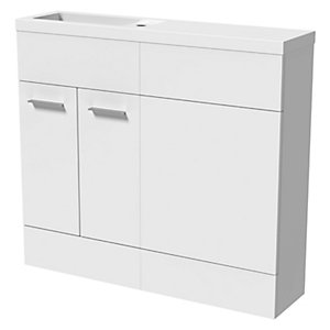 Wickes Geneva White Straight Freestanding Vanity & Toilet Pan Unit with Basin