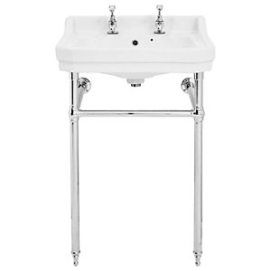Wickes Oxford Traditional 2 Tap Hole Ceramic Basin with Chrome Washstand