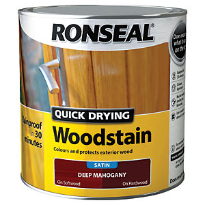 Ronseal Quick Drying Woodstain - Satin Deep Mahogany 2.5L