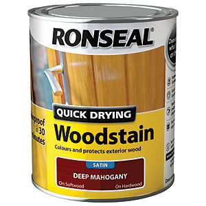 Ronseal Quick Drying Woodstain - Satin Deep Mahogany 750ml