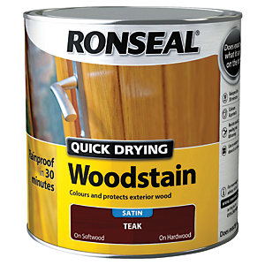 Ronseal Quick Drying Woodstain - Satin Teak 2.5L