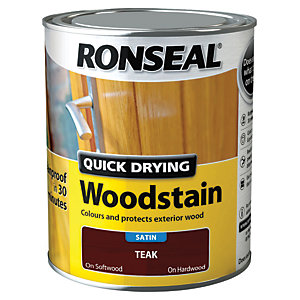 Ronseal Quick Drying Woodstain - Satin Teak 750ml