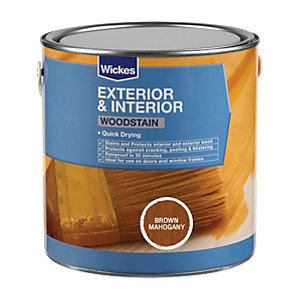 Wickes Quick Drying Woodstain - Brown Mahogany 750ml