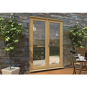 Rohden Pattern 10 Unfinished Oak French Doors - 5ft