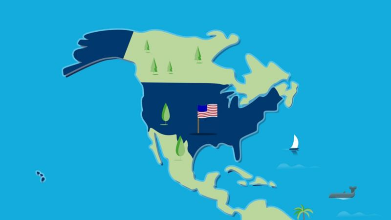 Stylised map of the US