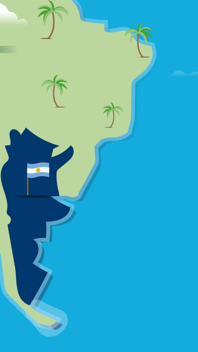 Stylised map of Argentina