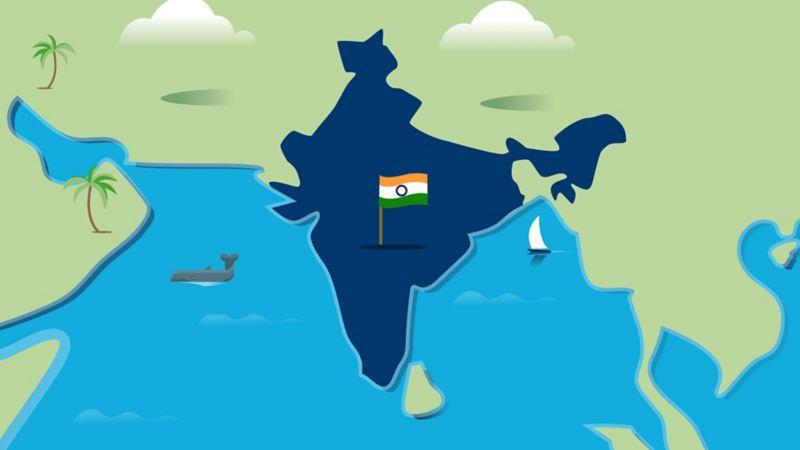 Stilisierte Landkarte von Indien