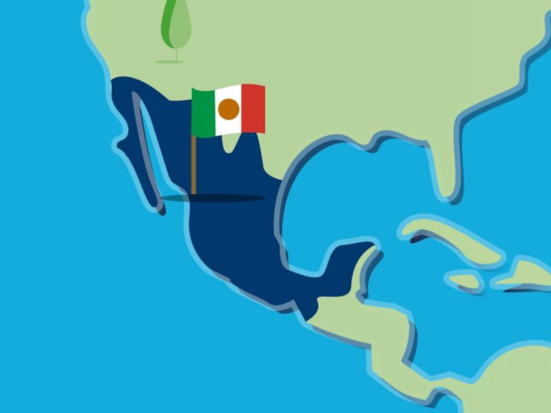 Stilisierte Landkarte von Mexiko