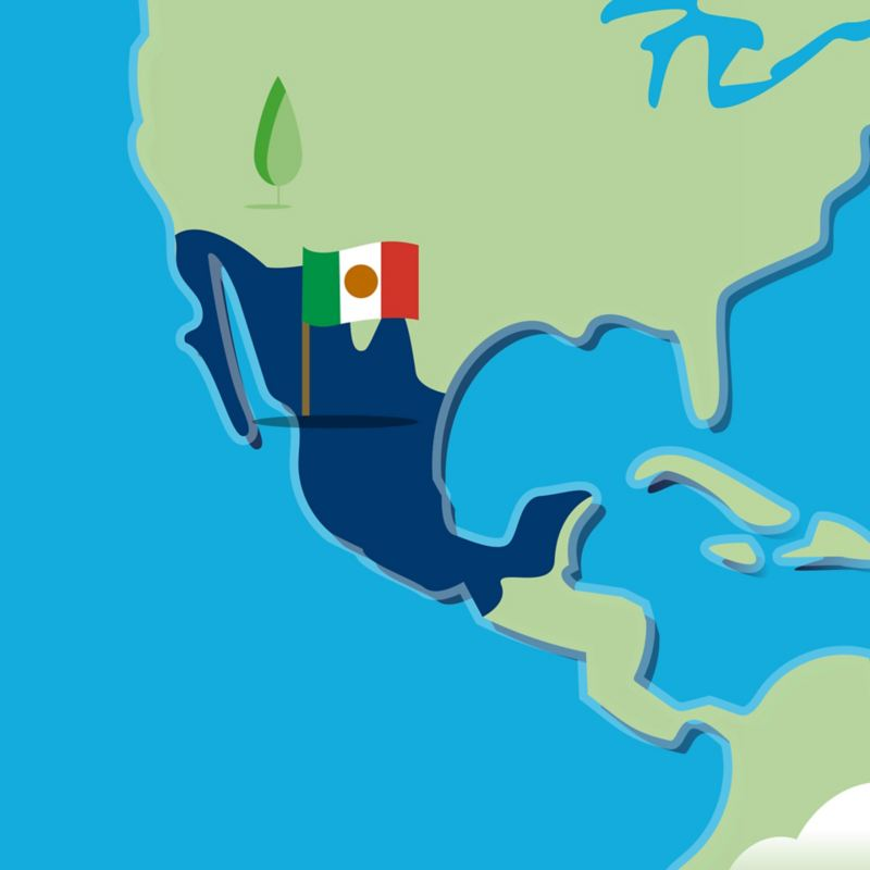 Stylised map of Mexico