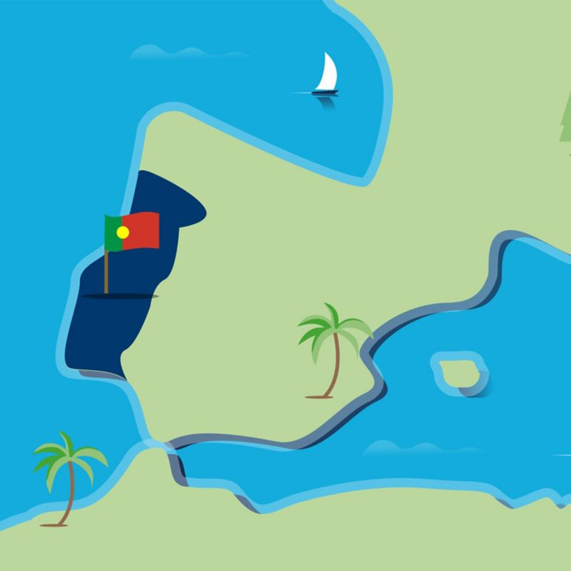 Stylised map of Portugal