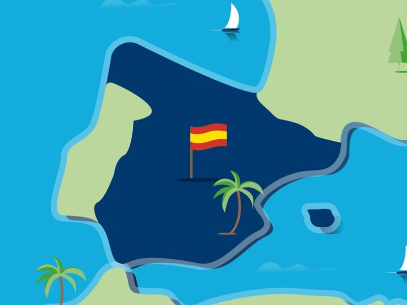 Stylised map of Spain