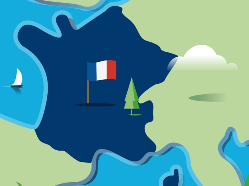 Stylised map of France