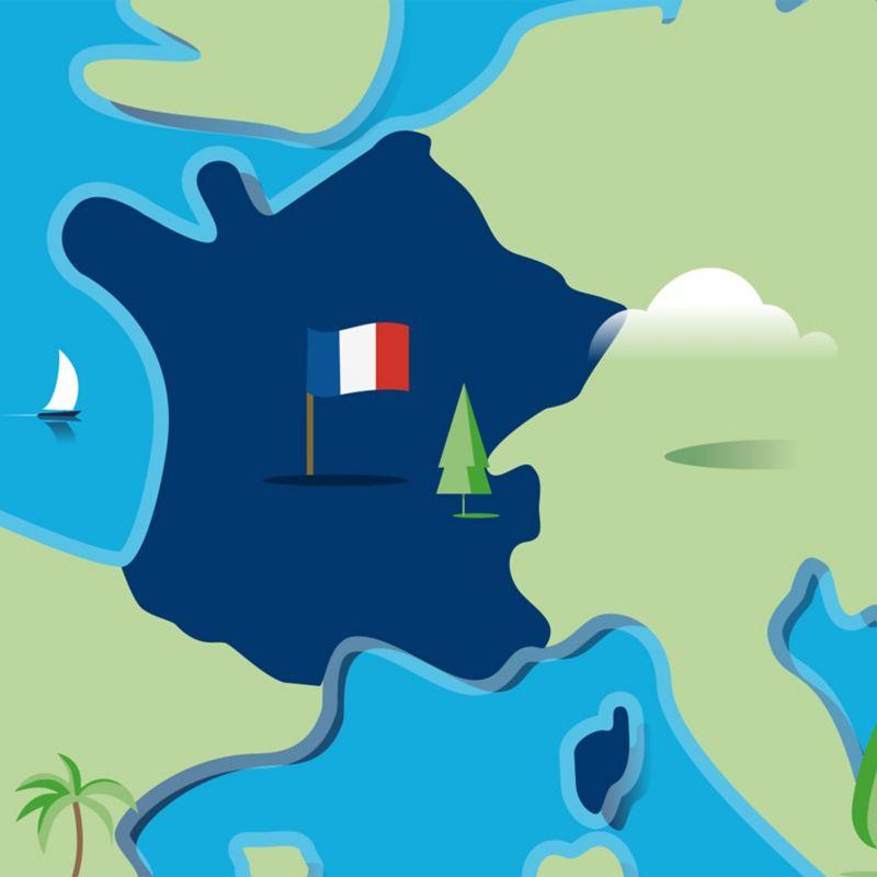 Stilisierte Landkarte von Frankreich