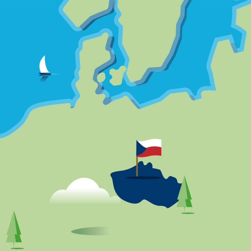 Stylised map of the Czech Republic