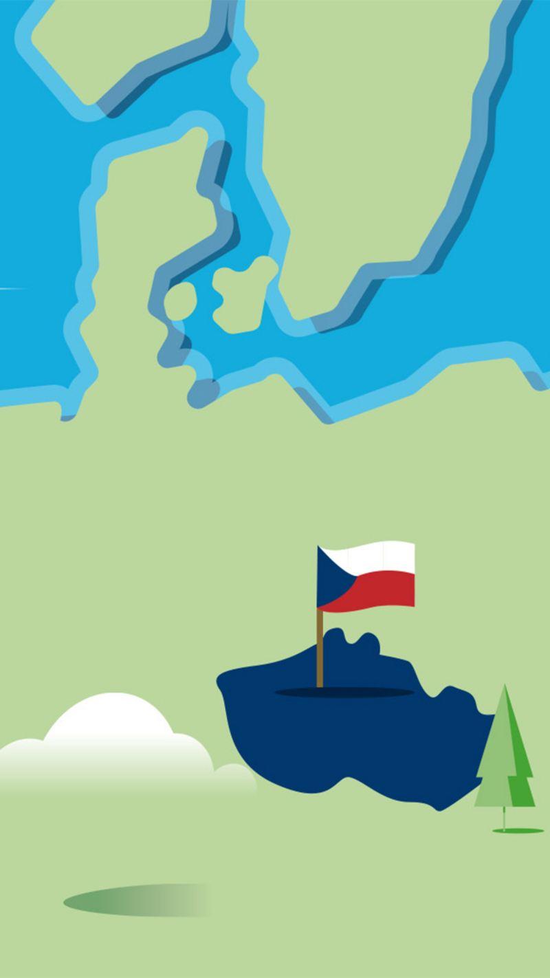 Stilisierte Landkarte von Tschechien
