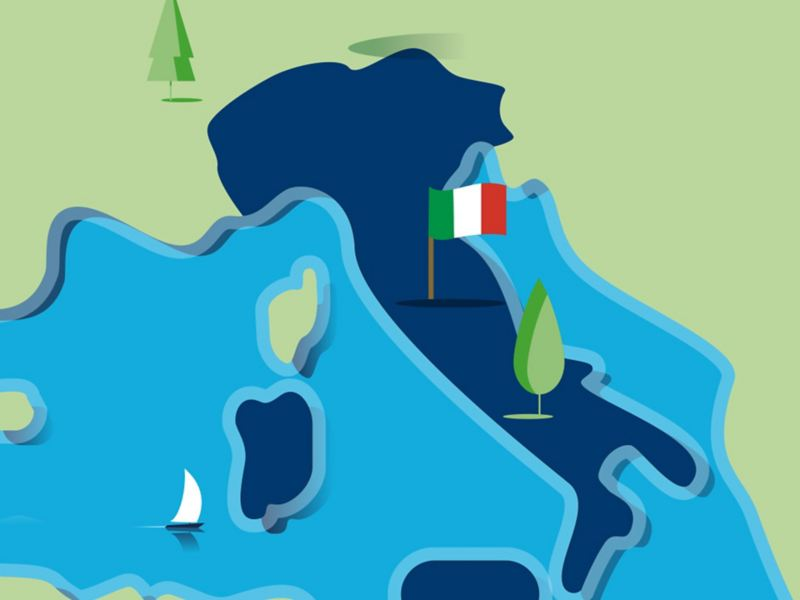 Stylised map of Italy