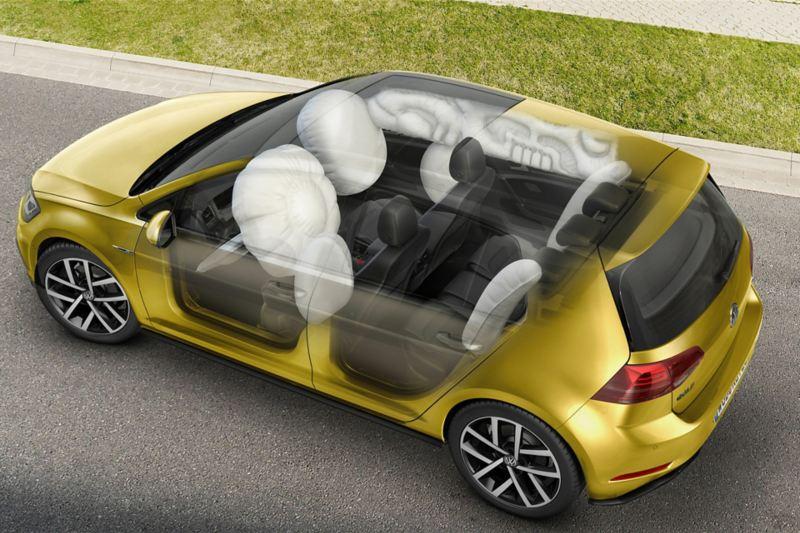 Schematische Darstellung von Airbags im Polo