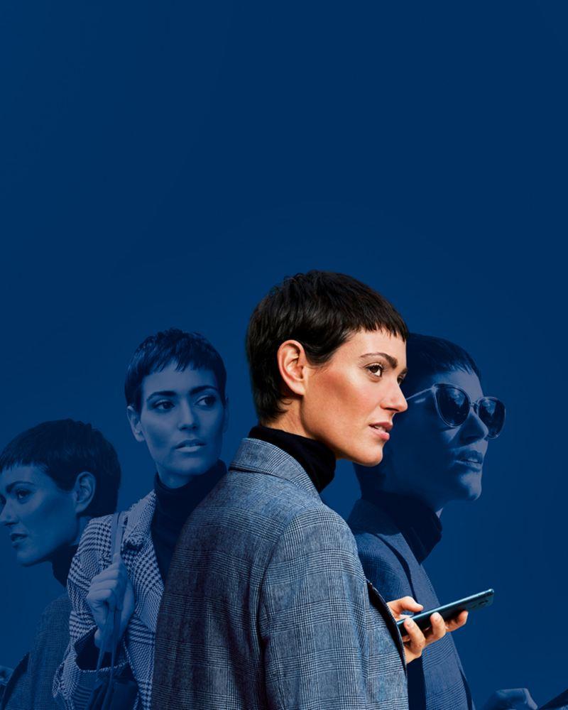 immagine grafica di donna che guarda cellulare