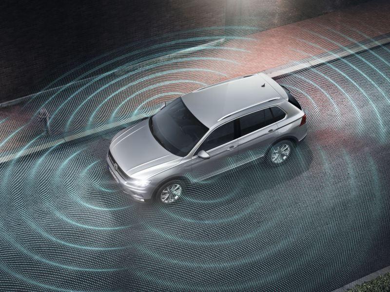 Gráfico del  asistente visión en 360º del Volkswagen Tiguan