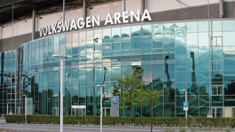 Frontal shot of the Volkswagen Arena