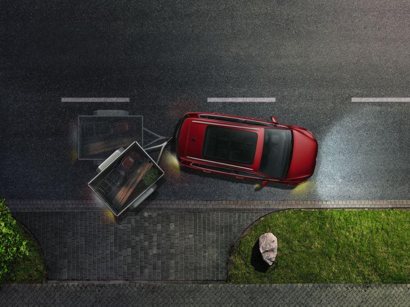 Gráfica del asistente de remolque de un Golf Sportsvan rojo