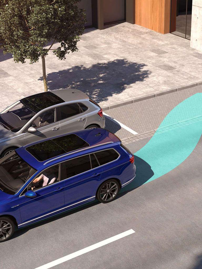 Gráfico de asistente de aparcamiento el línea del Volkswagen Passat en la ciudad