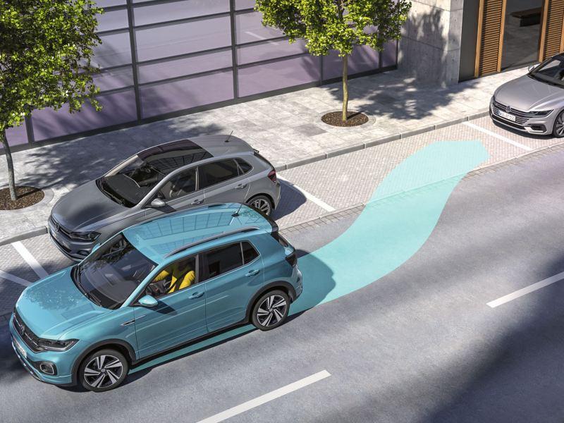 Gráfico del asistente de aparcamiento de un T-Cross azul turquesa