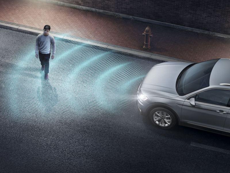 Gráfico del sistema detector de peatones del Volkswagen Tiguan