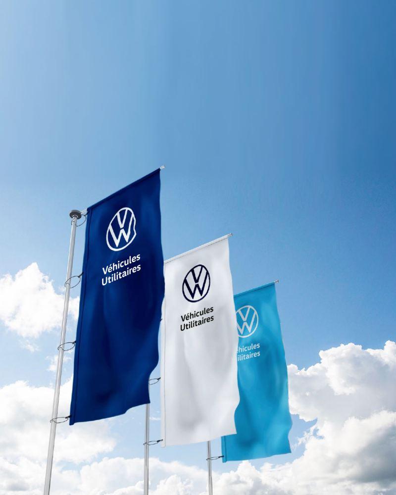 drapeaux avec logo volkswagen véhicules utilitaire