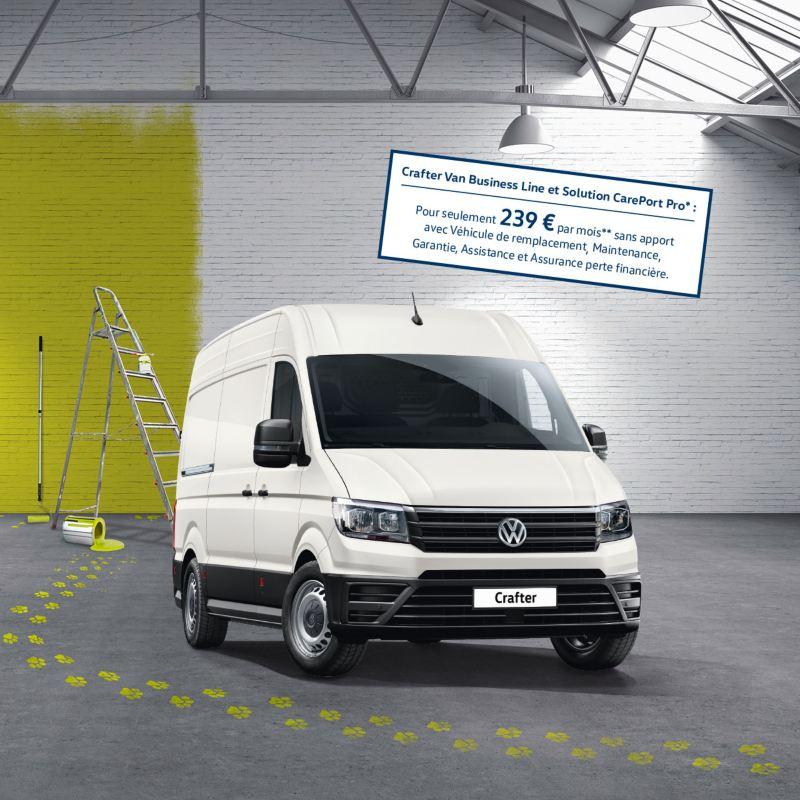 Vue avant du Volkswagen Véhicules Utilitaires Crafter Van avec offre