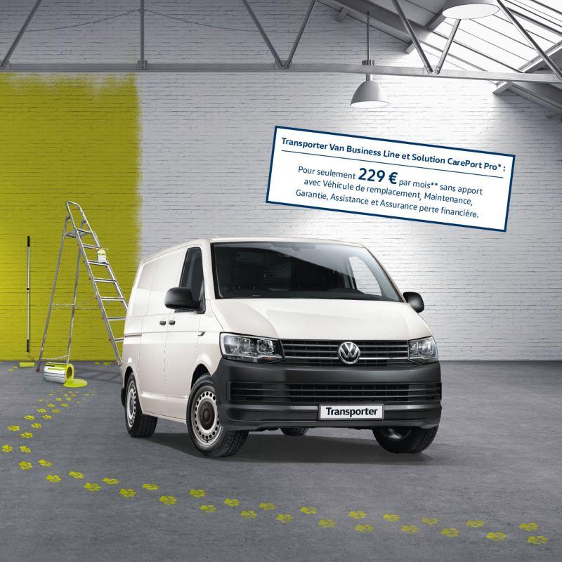 Vue avant du Volkswagen Véhicules Utilitaires Transport Van