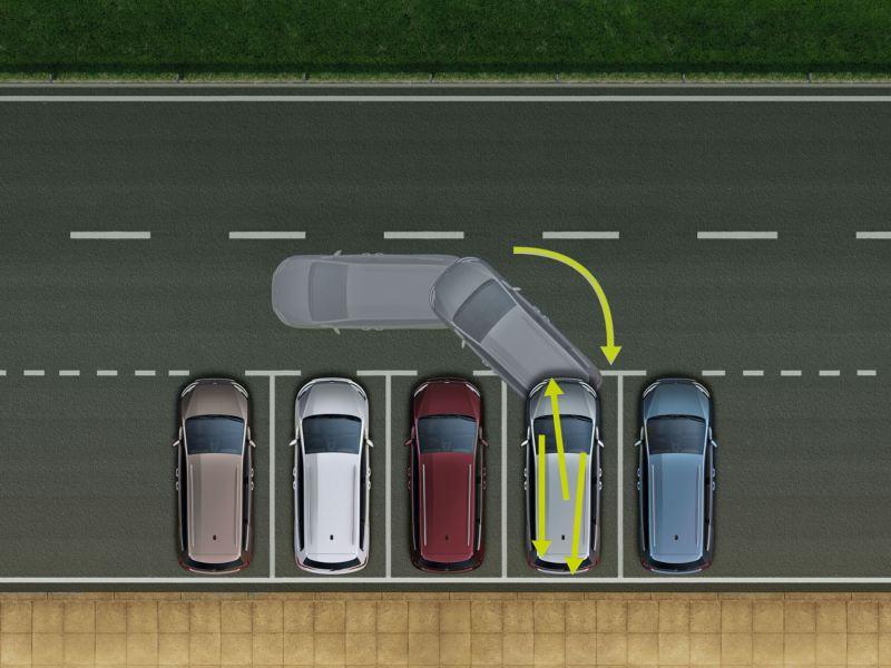 Vista superior del Volkswagen Sharan aparcando en batería con la ayuda del asistente de aparcamiento