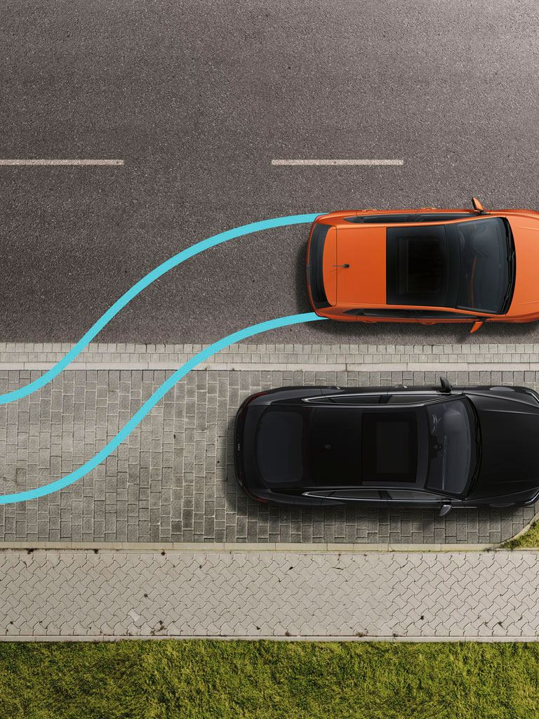 Gráfica del asistente de aparcamiento de un Volkswagen Polo