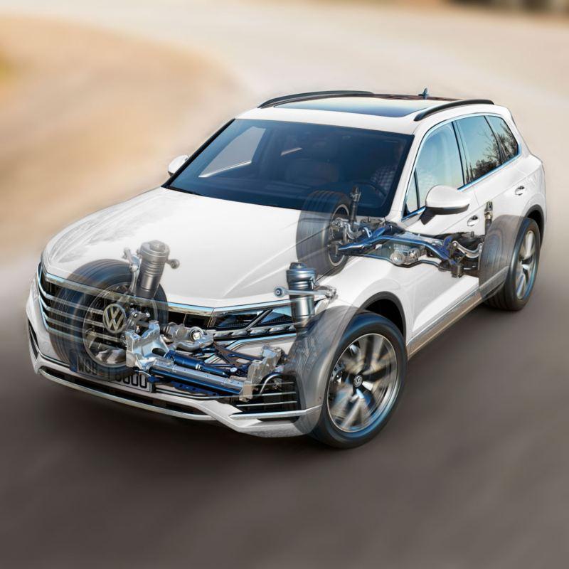 Vista esquemática del Volkswagen Touareg para mostrar el sistema de tracción en las cuatro ruedas