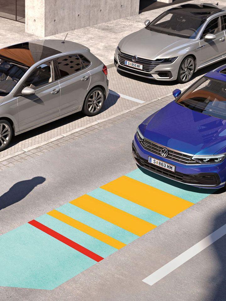Gráfico del  asistente detector de peatones del Volkswagen Passat Variant
