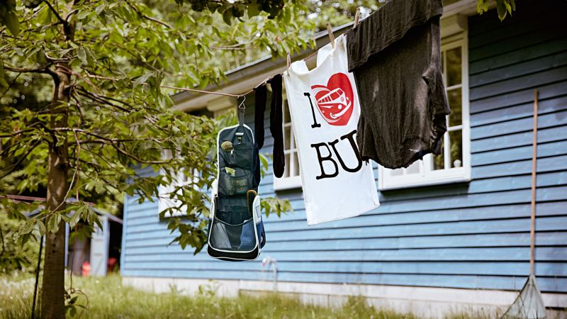 Products from the VW Commercial Vehicle Collection hang on a washing line