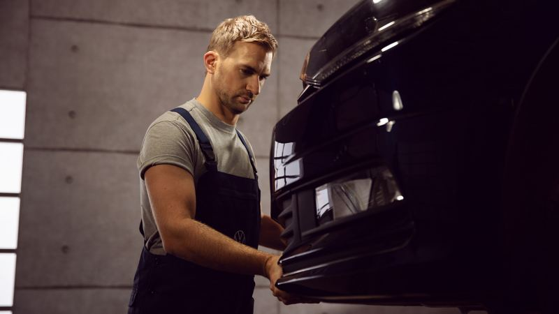 A Main Inspection Pre-Check on a Volkswagen in an Authorised Volkswagen workshop