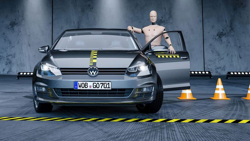 Product test of the VW Genuine Parts using crash tests with a Golf 7 model
