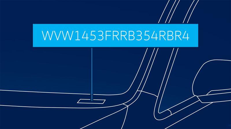 Visualisation de l'emplacement sur le pare-brise où se trouve le numéro de châssis sur une voiture VW