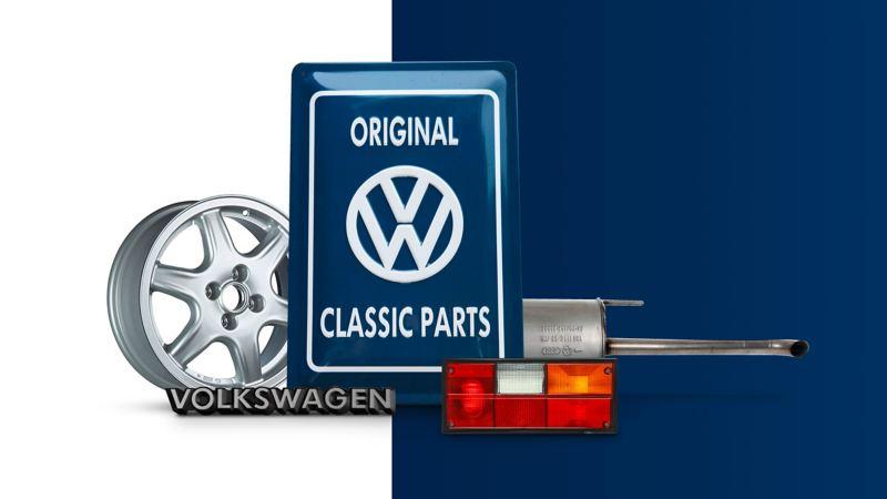 Logo Classic Parts entouré de pièces de rechange