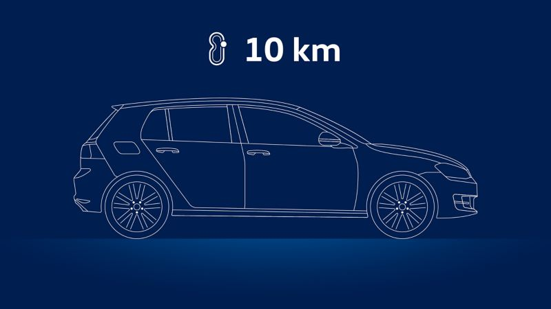 Illustration of a VW car and the advice to drive ten kilometers