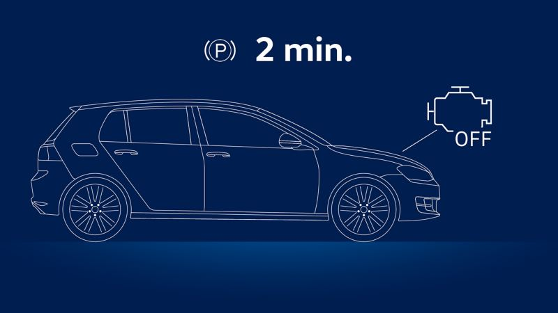 Illustration of a VW car and the advice to switch off the engine