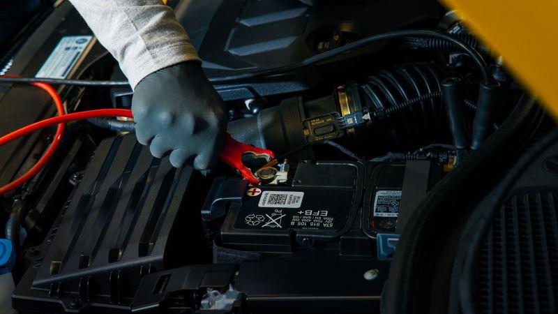 Mano di un tecnico di Volkswagen Service intento a collegare il morsetto di una batteria.