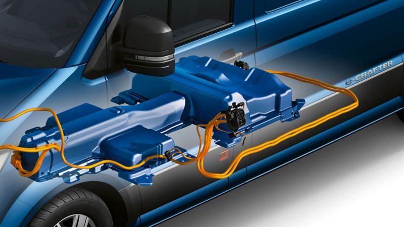 Een illustratie van de batterij van de e-Crafter. De accu heeft een actieradius van maximaal 173 km bij volle belading.