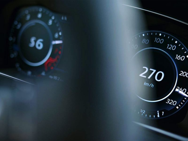 Close-up of a speedometer