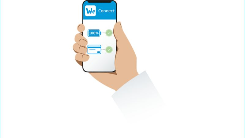 Illustration eines Smartphones mit We Connect von Volkswagen