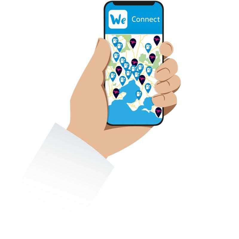 Schematische Darstellung der VW We Connect App