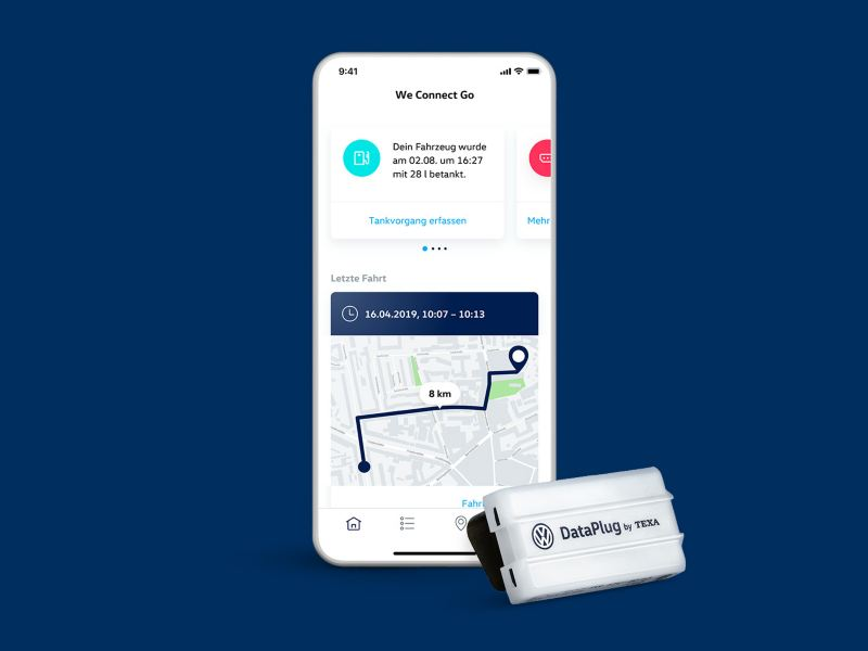 "App ""We Connect Go"" auf Smartphone-Display mit Dataplug"