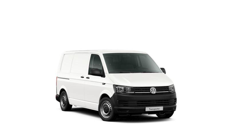 Transporter koelwagen wit 3/4 van voor witte achtergrond
